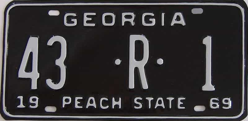 YOM RESTORED 1969 GA (Truck) license plate for sale