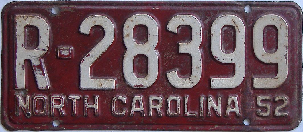 1952 North Carolina (Single) license plate for sale