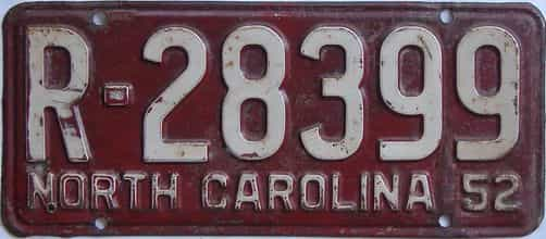 1952 North Carolina (Single) license plate for sale