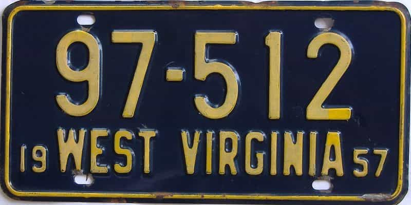 1957 WV license plate for sale