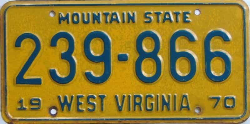 1970 WV license plate for sale
