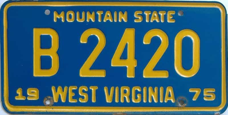 1975 WV (Truck) license plate for sale