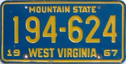 1967 West Virginia license plate for sale