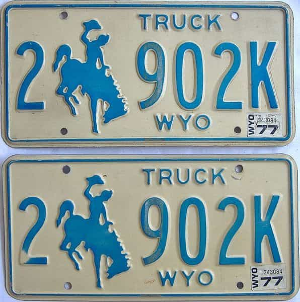 1977 WY (Pair) license plate for sale