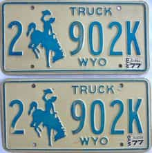 1977 Wyoming (Pair) license plate for sale