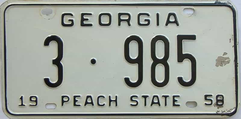 1958 GA license plate for sale