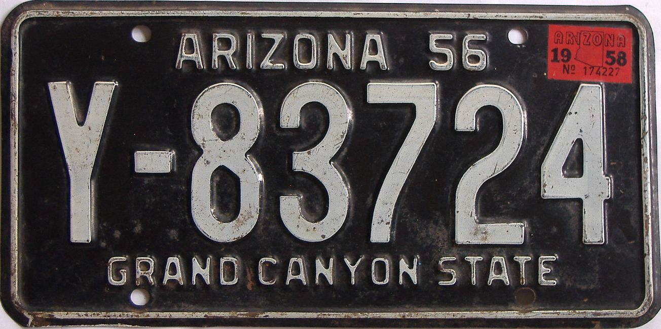 1958 Arizona (Single) license plate for sale
