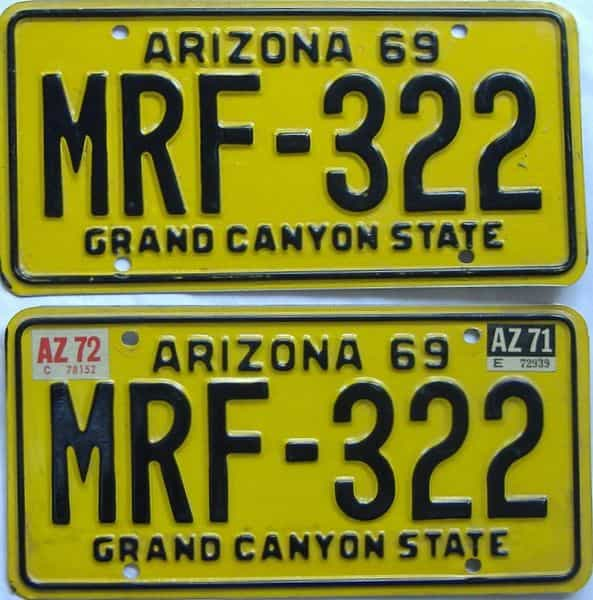 1972 Arizona (Pair) license plate for sale