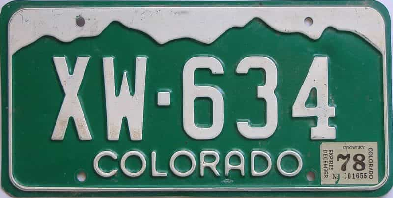 1978 CO (Single) license plate for sale
