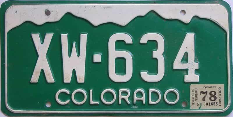 1978 Colorado (Single) license plate for sale