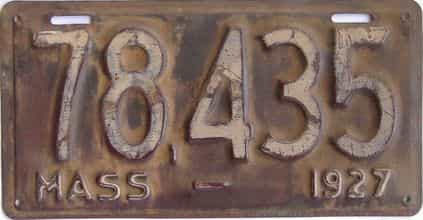 1927 Massachusetts (Single) license plate for sale