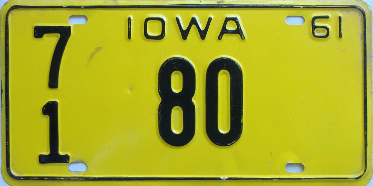 1961 Iowa (Single) license plate for sale