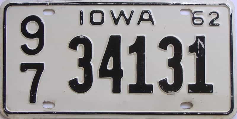 1962 Iowa (Single) license plate for sale
