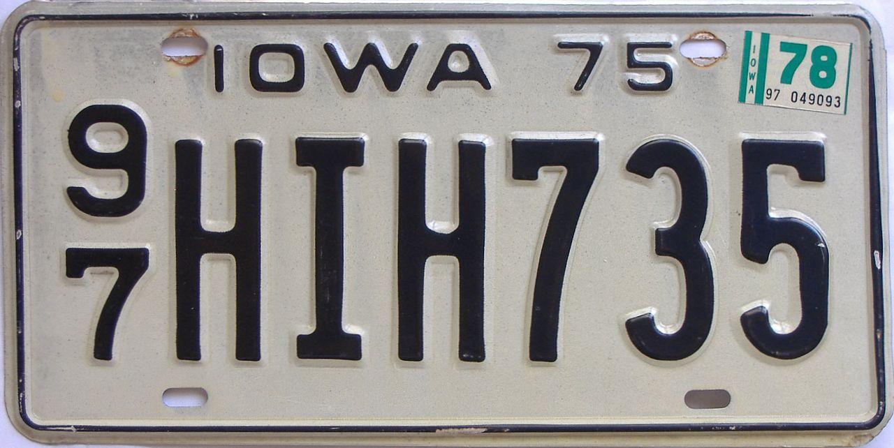 1978 Iowa (Single) license plate for sale