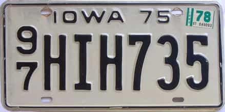 1978 Iowa  (Single) license plate for sale