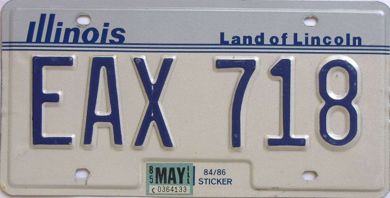 1985 Illinois (Single) license plate for sale