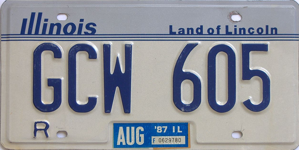 1987 Illinois (Single) license plate for sale