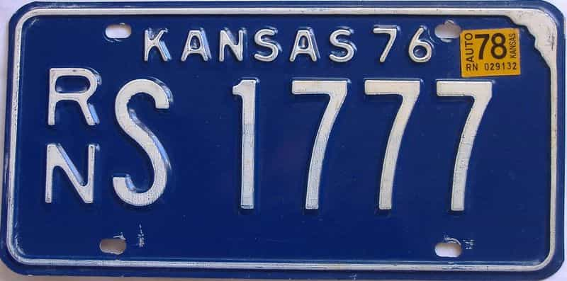 1978 Kansas license plate for sale
