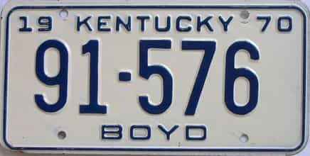 1970 Kentucky license plate for sale