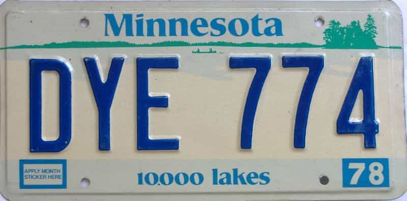 1978 MN (Single) license plate for sale