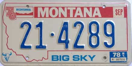 1978 Montana (Single) license plate for sale