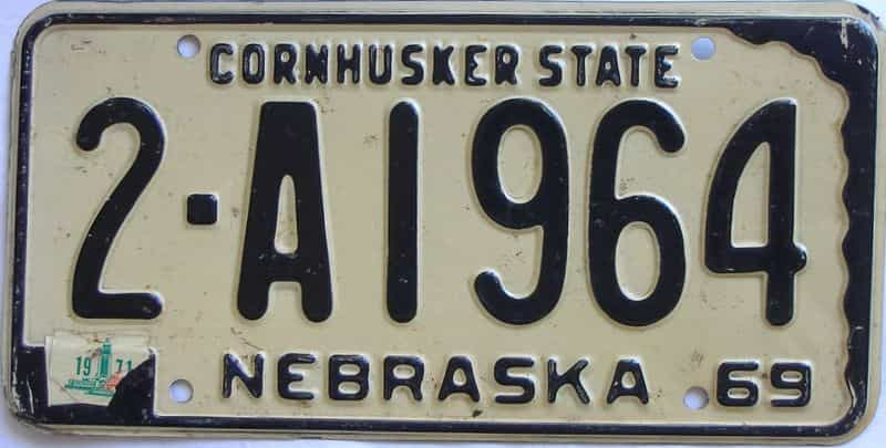 1971 Nebraska (Single) license plate for sale