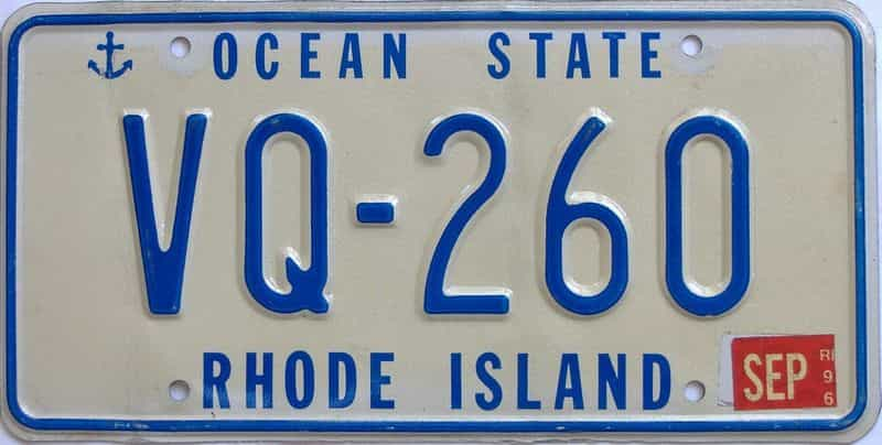 1996 RI (Single) license plate for sale