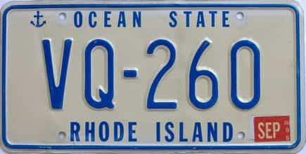 1996 Rhode Island (Single) license plate for sale