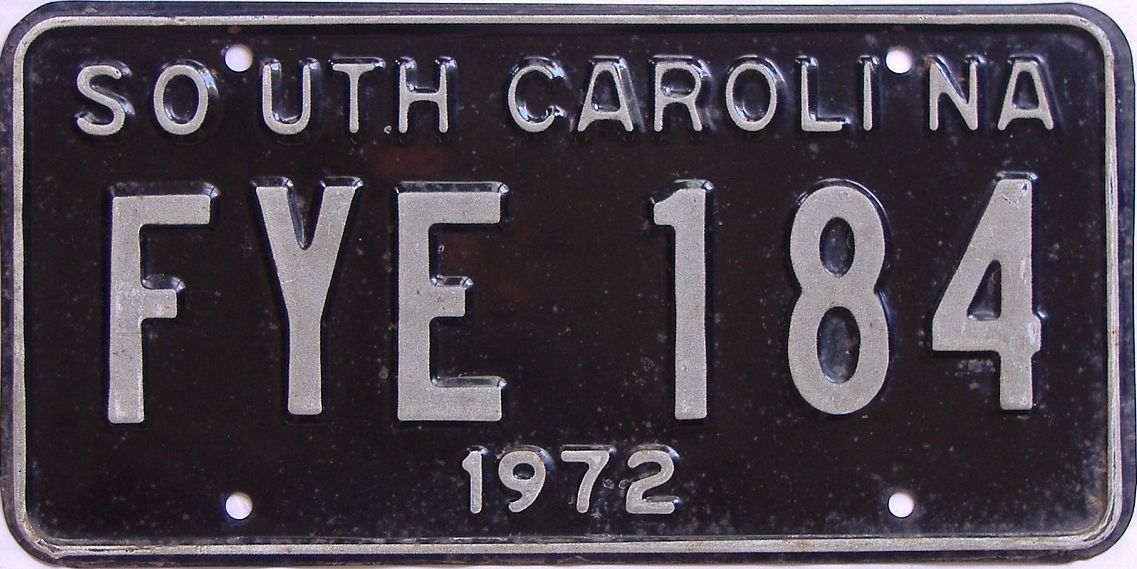 1972 South Carolina (DMV NOT CLEAR) license plate for sale