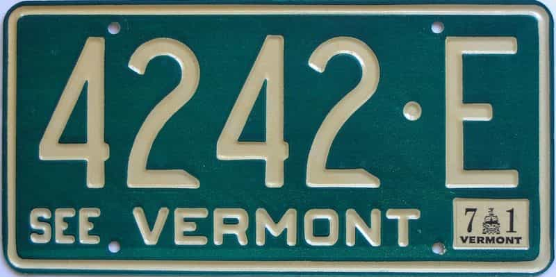1971 VT (Natural Single) license plate for sale