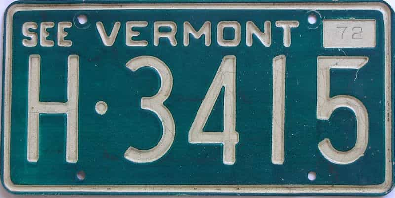 1972 Vermont (Single) license plate for sale