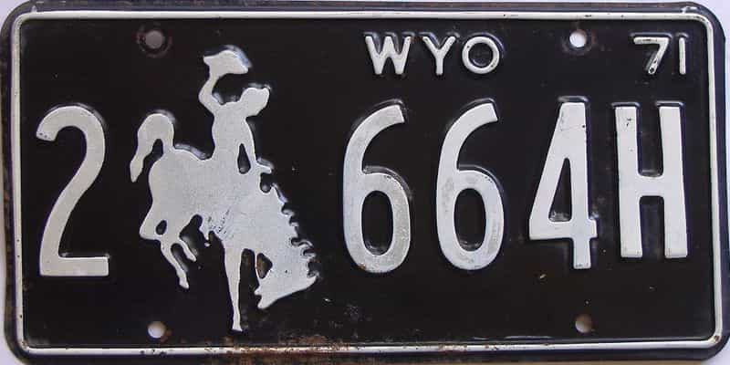 1971 WY (Single) license plate for sale