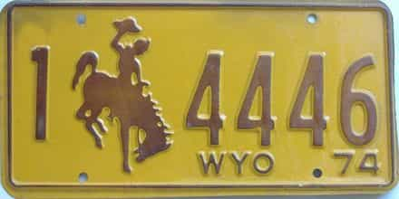 1974 Wyoming (Single) license plate for sale