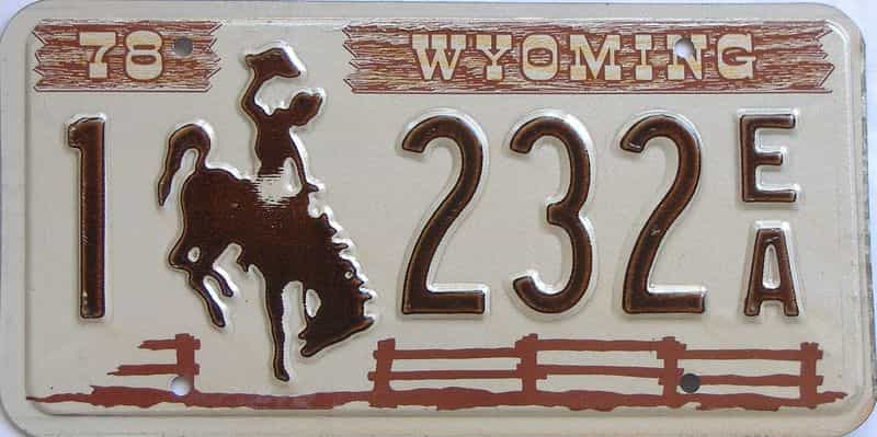 1978 WY (Single) license plate for sale