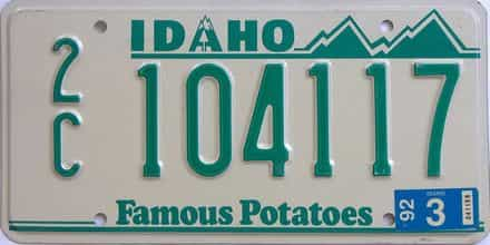 1992 Idaho (Single) license plate for sale