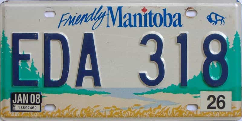 2008 Manitoba (Natural Single) license plate for sale