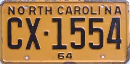 1964 North Carolina license plate for sale