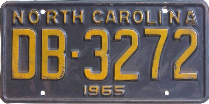 1965 NC license plate for sale