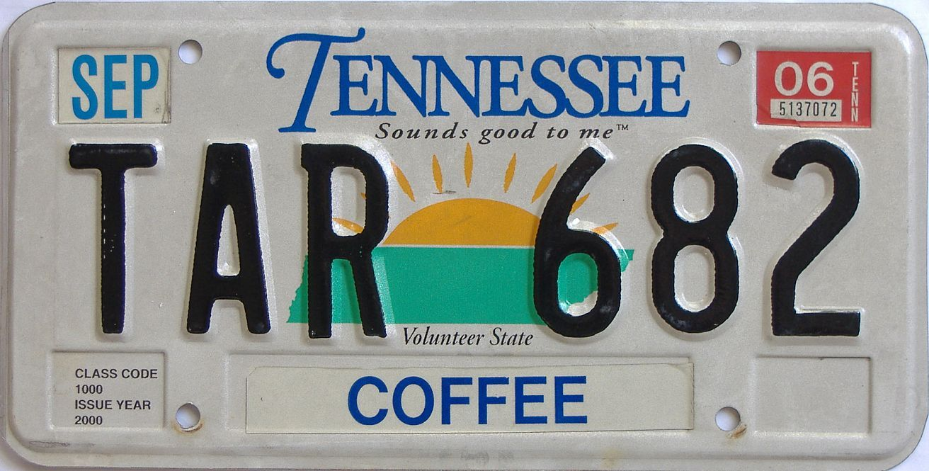 2006 Tennessee license plate for sale