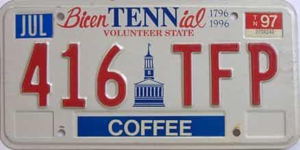 1997 Tennessee license plate for sale