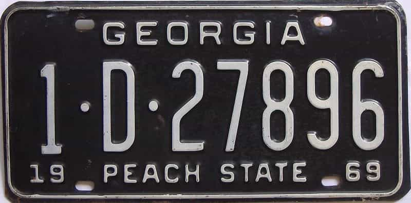 YOM 1969 GA license plate for sale