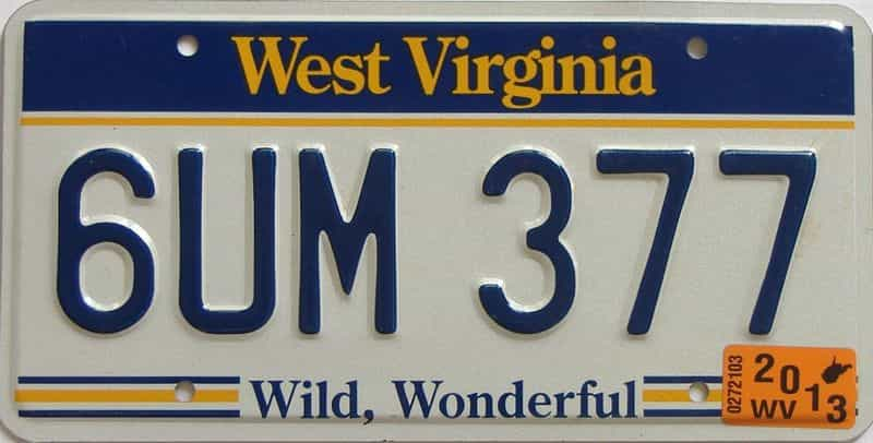 2013 WV license plate for sale