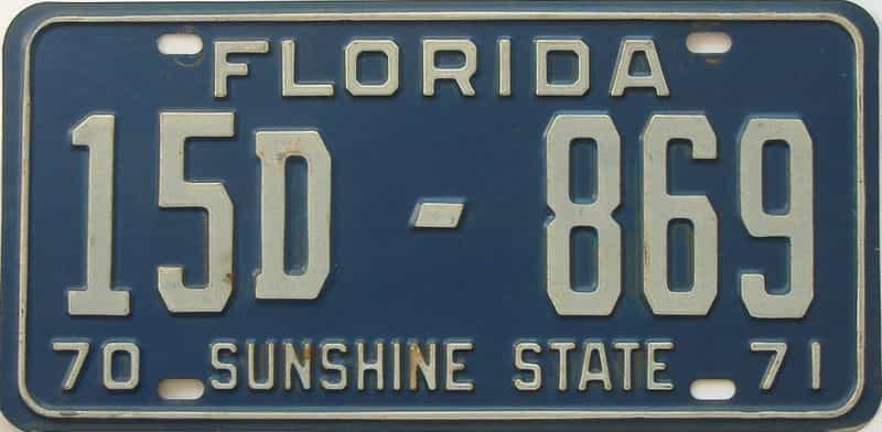 1971 Florida license plate for sale
