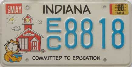 2000 Indiana license plate for sale