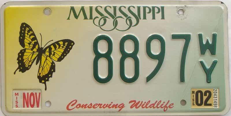 2002 Mississippi (Natural) license plate for sale