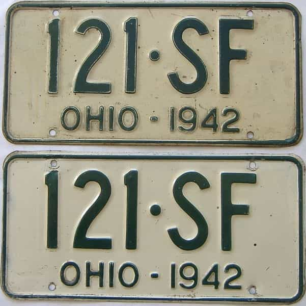 1942 Ohio (Pair) license plate for sale