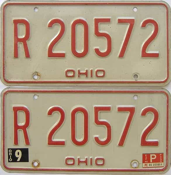 1980 Ohio  (Pair) license plate for sale