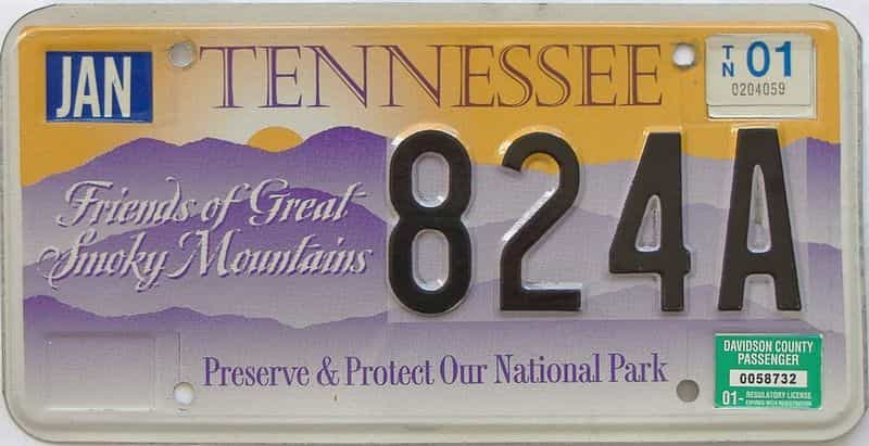 2001 TN license plate for sale
