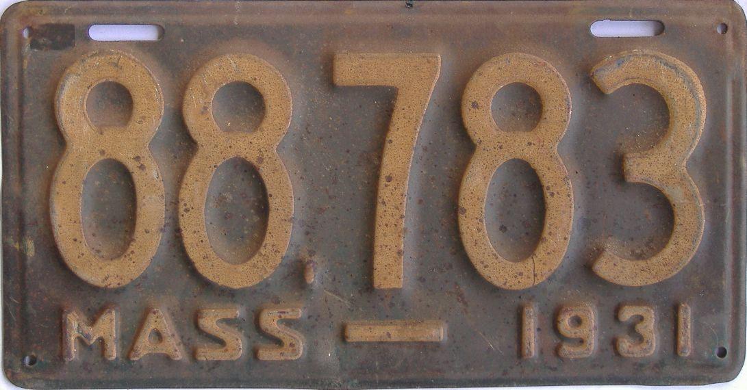 1931 Massachusetts (Single) license plate for sale