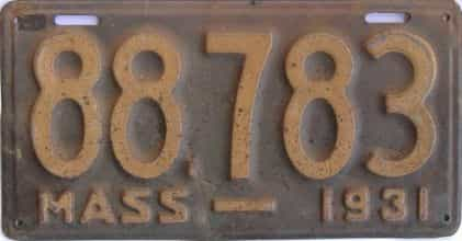 1931 Massachusetts (Single) license plate for sale